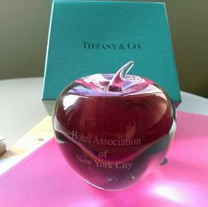 Tiffany & Co. Crystal Apple Paperweight